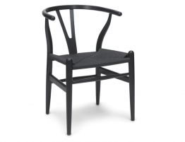 Wishbone Chair Black Frame Black Cord Angle