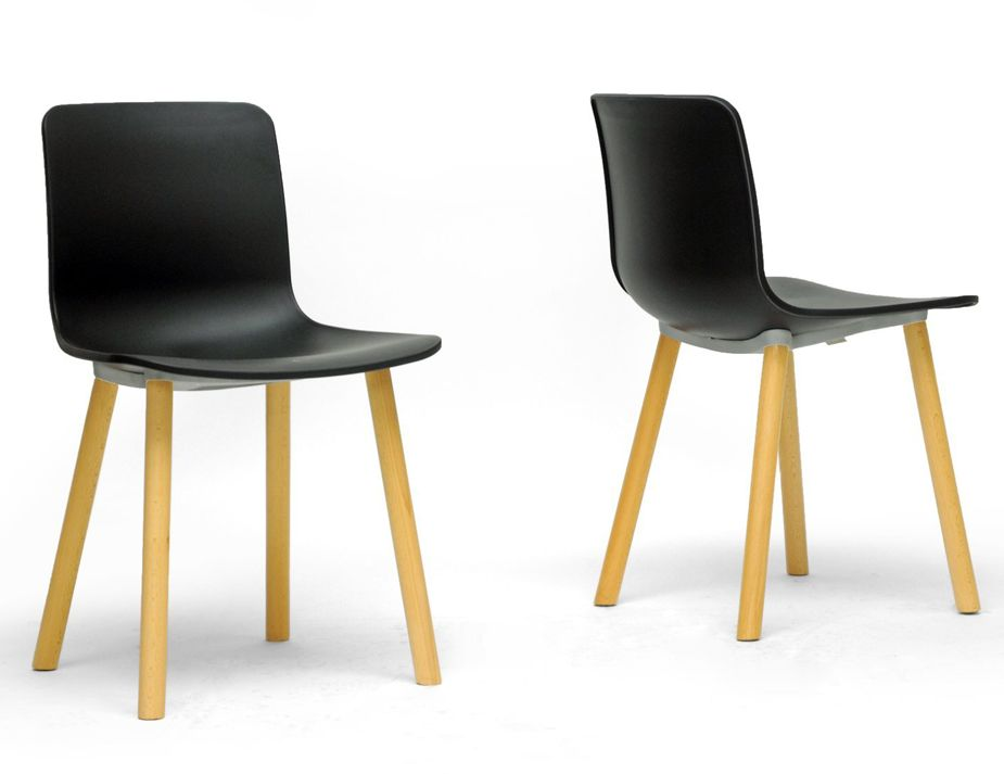 Hal Wood Style Chair Black Natural Timber Legs