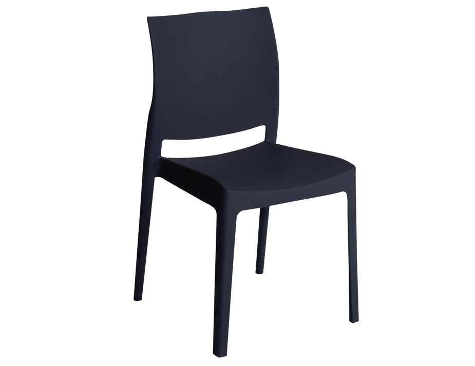 injection moulded thermoplastic indoor outdoor dining chair black