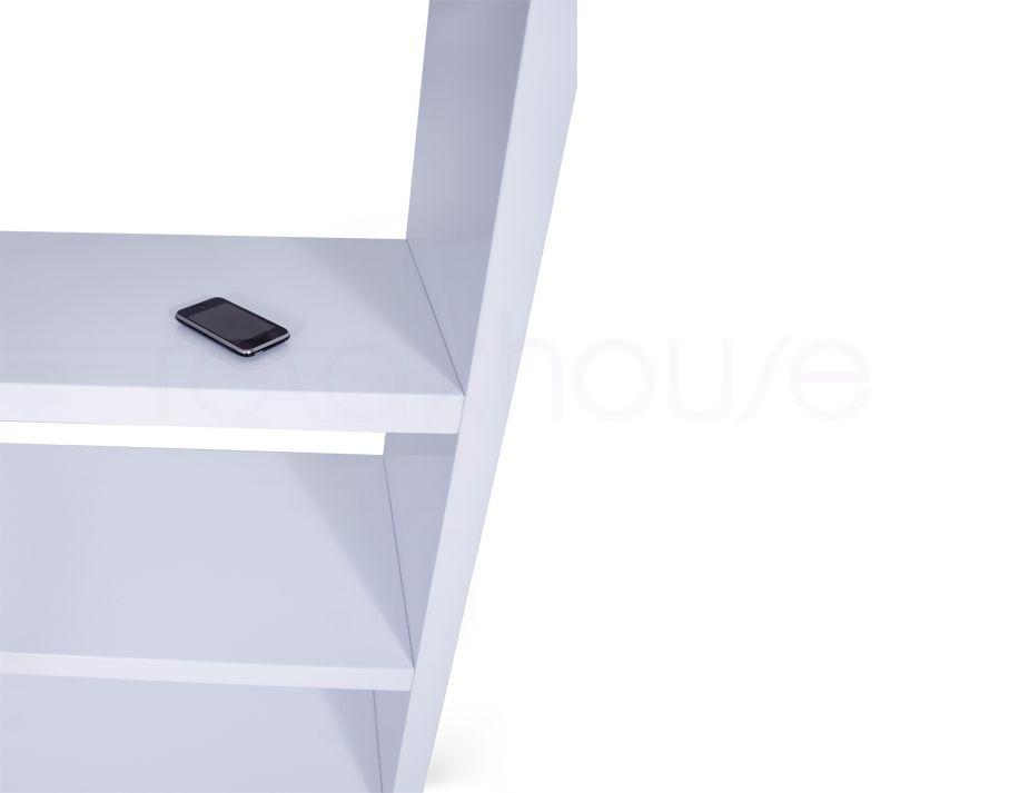High Gloss White Bookshelf Shelving Display Unit