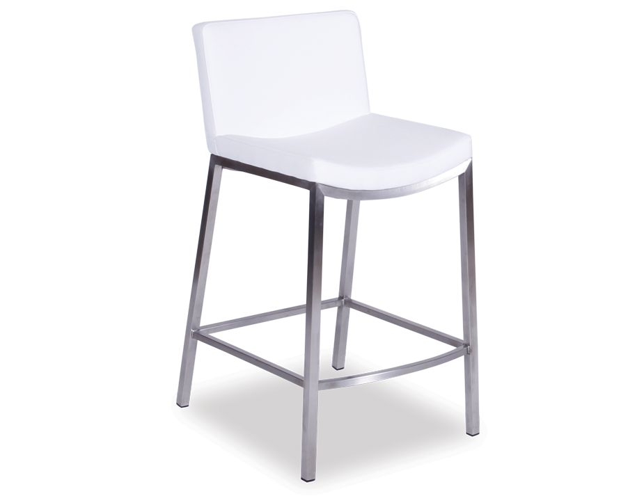Modern White Padded Kitchen Bar Stool
