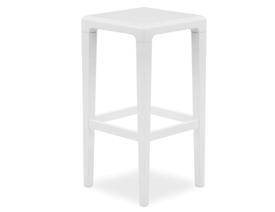 white designer solid timber kitchen stool by ton