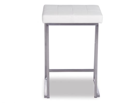 Cream Padded Modern Backless Counter Stool
