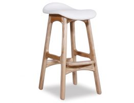 Erik Buch Counter Stool 66cm Black Italian Leather Pad