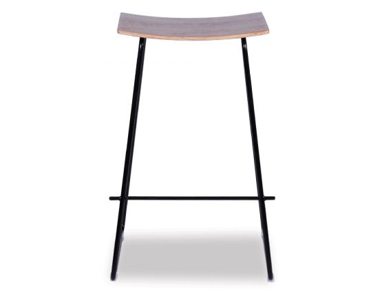 Yvonne Y Potter Stool Powdercoated Black W Wood Seat