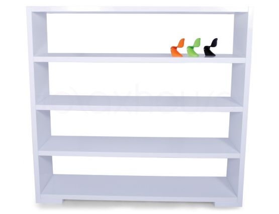 High Gloss White Bookshelf Display Unit