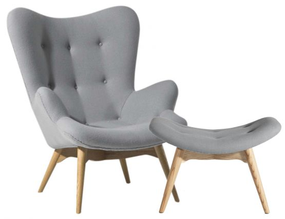 Light Grey Wool Featherston Lounge Chair & Ottoman