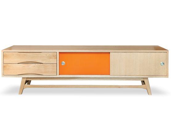 Soborg solid oak reversable tv entertainment unit with retro optional