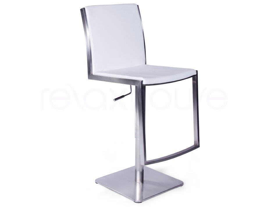 Kitchen swivel bar stool white stainless steel for White breakfast bar stools