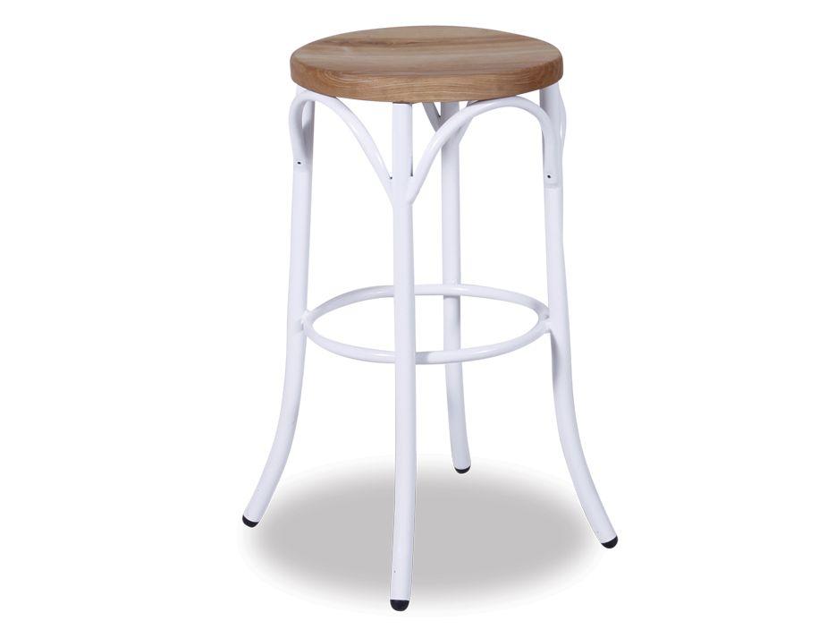 White Paris Kitchen Stool 65cm Bentwood Style W Wood Seat