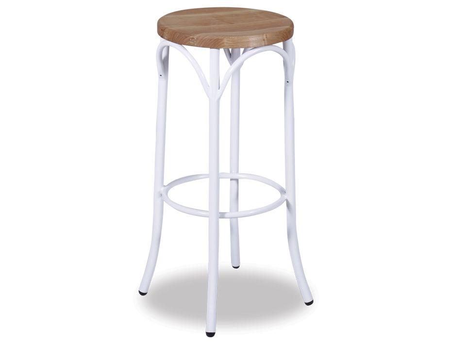 white bentwood steel bar stool wood seat. Black Bedroom Furniture Sets. Home Design Ideas