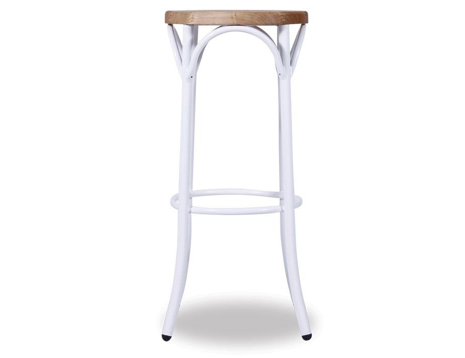 White Bentwood Steel Bar Stool Wood Seat