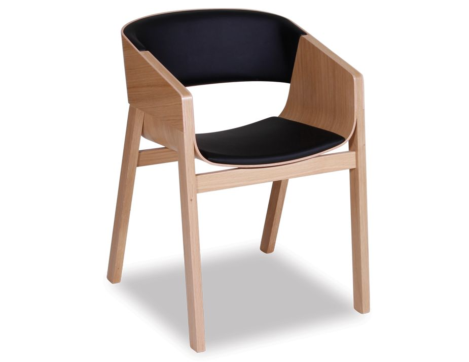 Ton Merano Solid Oak Chair With Black Seat