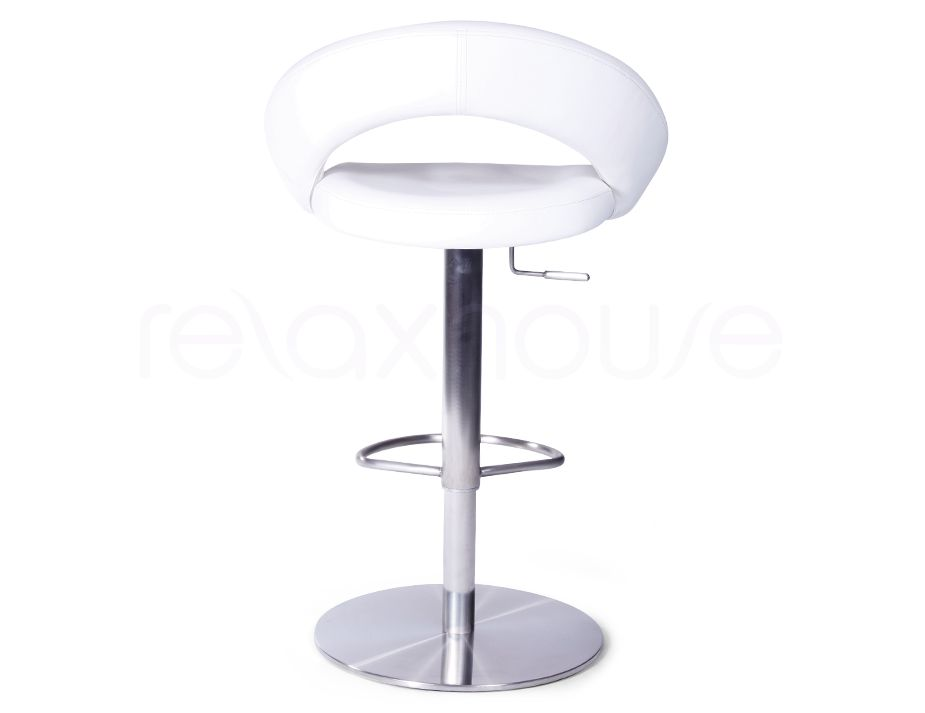 White Modern Round Bar Stool With Swivel Gas Lift