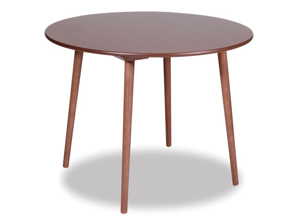 Designer walnut round wood small 4 person kitchen table for Small round wood kitchen table