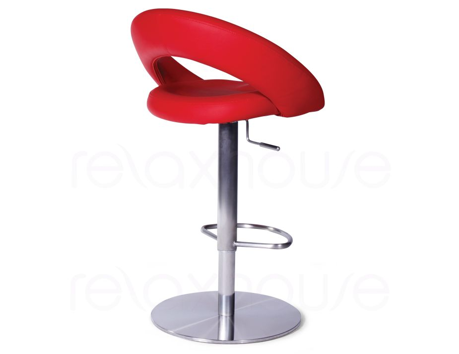 Red Bar Stool With Gas Lift Swivel