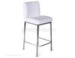 Addison Four Post Brushed Stainless Padded Breakfast Bar Stool - White