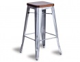 Tolix Stool Replica 75cm Dark Teak Wood Seat Xavier Pauchard - Galvanised