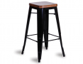 Tolix Stool Replica 75cm Dark Teak Wood Seat Xavier Pauchard - Black