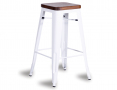 Tolix Stool Replica 75cm Dark Teak Wood Seat Xavier Pauchard - White