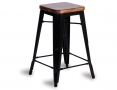 Tolix Stool Replica 65cm Dark Teak Wood Seat Xavier Pauchard - Black
