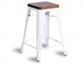 Tolix Stool Replica 65cm Dark Teak Wood Seat Xavier Pauchard - White