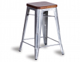 Tolix Stool Replica 65cm Dark Teak Wood Seat Xavier Pauchard - Galvanised