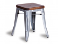 Tolix Stool Replica 45cm Dark Teak Wood Seat Xavier Pauchard - Galvanised