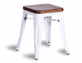 Tolix Stool Replica 45cm Dark Teak Wood Seat Xavier Pauchard - White