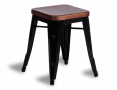Tolix Stool Replica 45cm Dark Teak Wood Seat Xavier Pauchard - Black