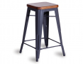 Tolix Stool Replica 65cm Solid Dark Teak Wood Seat Xavier Pauchard - Charcoal