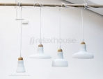 Original Shadows Pendants by Brokis - White Frost Glass Solid Oak Wood Neck (Set of 4)