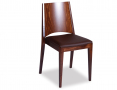 Original European Made Zurich Stackable Wood Bistro Pub Dining Chair w Chocolate Seat Pad - Walnut